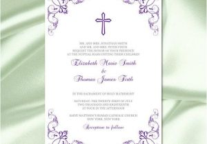 Catholic Wedding Invitation Template Catholic Wedding Invitation Template Diy Printable Purple