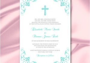 Catholic Wedding Invitation Template Catholic Wedding Invitation Template Turquoise Cross Invites