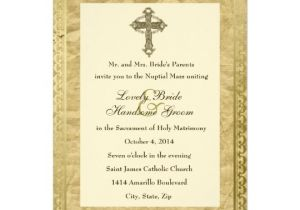 Catholic Wedding Invitation Template Vintage Catholic Cross Wedding Invitation Zazzle Com