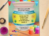 Ceramic Party Invitations Pottery Painting Birthday Party Invitation by Starstreamdesign