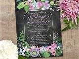 Chalkboard Mason Jar Bridal Shower Invitations Chalkboard Mason Jar Floral Bridal Wedding by Starstreamdesign