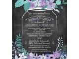 Chalkboard Mason Jar Bridal Shower Invitations Chalkboard Mason Jar Purple and Green Flowers Bridal