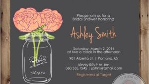 Chalkboard Mason Jar Bridal Shower Invitations Mason Jar Invitation Bridal Shower Invitation Wedding