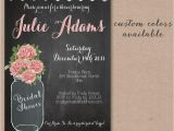 Chalkboard Mason Jar Bridal Shower Invitations Rustic Baby Shower Mason Jar Bridal Shower Invite