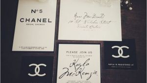 "Chanel Inspired Bridal Shower Invitations Classy Black & White ""coco Chanel Inspired Bridal Shower"
