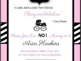 Chanel Party Invitation Template Coco Chanel themed Party Invitations A Birthday Cake