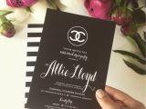 Chanel themed Bridal Shower Invitations Chanel Inspired Bridal Shower Invitations Black and