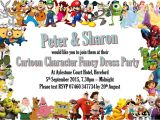 Character Birthday Party Invitations 10 Personalised Cartoon Character Fancy Dress Birthday
