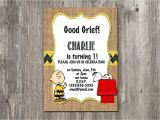 Charlie Brown Birthday Invitations Charlie Brown Birthday Invitation Snoopy Rustic Burlap