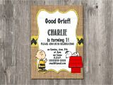 Charlie Brown Birthday Party Invitations Charlie Brown Birthday Invitation Snoopy Rustic Burlap