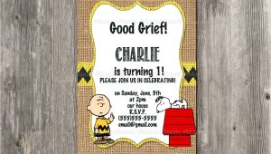 Charlie Brown First Birthday Invitations Charlie Brown Birthday Invitation Snoopy Rustic Burlap