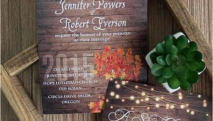 Cheap Fall themed Wedding Invitations Cheap Rustic Wooden String Light Mason Jar Fall Wedding