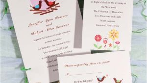 Cheap Love Bird Wedding Invitations Modern Love Birds with Heart Printable Wedding Invitations