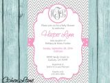 Cheap Personalized Baby Shower Invitations Pink Monogram Baby Shower Invitation Printable Girl Chev