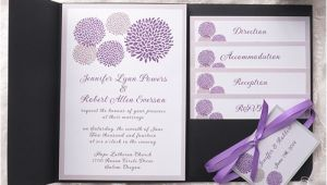 Cheap Pocket Wedding Invitation Kits Cheap Purple Dandelion Black Pocket Wedding Invitation