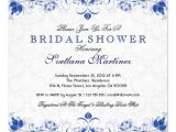 Cheap Tiffany Blue Bridal Shower Invitations Royal Blue & White Damask Bridal Shower Invitation