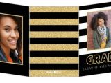 Cheap Tri Fold Graduation Invitations Glitter Black White Stripes Trifold Graduation