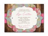 Cheap Vintage Bridal Shower Invitations Rustic Bridal Shower Invitation Rose Baby Shower Rustic
