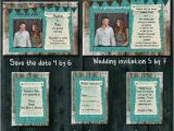 Cheap Wedding Invitations and Save the Dates Packages Teal Burlap Wedding Invitation Package Save the Date