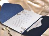 Cheap Wedding Invite Sets Elegant Floral Art Decor Monogram Blue Pocket Discount