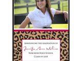 Cheetah Graduation Invitations Cheetah Class Of Photo Graduation Announcements Paperstyle