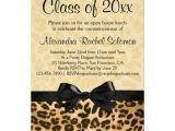 Cheetah Graduation Invitations Leopard Print with Bow Graduation Party Invitation 5 Quot X 7