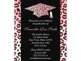 Cheetah Graduation Invitations Pink Leopard Print Graduation Party Custom Announcements