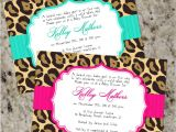 Cheetah Party Invitations Chic Leopard Invitations Baby Shower or Any Occassion
