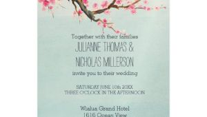 Cherry Blossom Wedding Invitation Template Cherry Blossom Flowers Wedding Invitation Zazzle Com