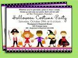 Children S Halloween Party Invitations Costumes Birthday Party Invitation Wording Festival