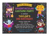 Children S Halloween Party Invitations Halloween Birthday Invitation Costume Party Kids Card