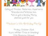 Children S Halloween Party Invitations Halloween Birthday Invitations for Kids Costume Kids