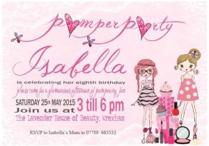 Childrens Pamper Party Invitations 10 Personalised Girl Childrens Pamper Birthday Party