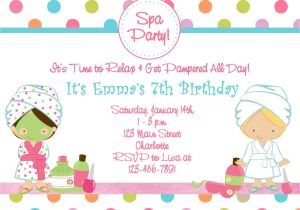 Childrens Pamper Party Invitations Free Printable Spa Birthday Party Invitations Spa at