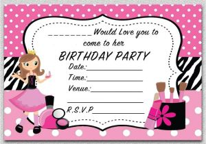 Childrens Pamper Party Invitations Girls Pamper Birthday Party Invitations Kids Invites Pink