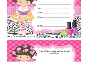 Childrens Pamper Party Invitations Grumpy but Gorgeous Pamper Parties Spa Pamper Beauty