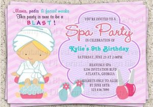 Childrens Pamper Party Invitations Kids Spa Party Invitation Girls Spa Party Invitation