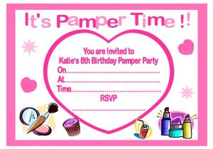 Childrens Pamper Party Invitations Personalised Girls Pamper Party Invitations Thank You
