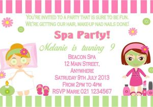 Childrens Pamper Party Invitations Personalised Spa Pamper Party theme Invitation