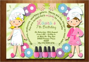Childrens Pamper Party Invitations Spa Party Birthday Printable Invitation Manicure