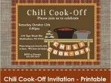 Chili Cook Off Party Invitation Chili Cook F Invitation Printable Diy