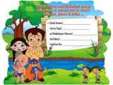 Chota Bheem theme Birthday Party Invitations Free Download Chota Bheem and Krishna Coloring Pages Hd