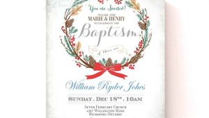 Christmas Baptism Invitations Christmas Holiday Baptism Invitation Custom Font Color
