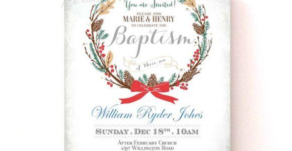 Christmas Baptism Invitations Christmas Holiday Baptism Invitation Custom Font Color