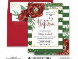 Christmas Baptism Invitations Floral Baptism Invitation Winter Baptism Invitation