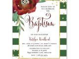 Christmas Baptism Invitations Floral Green and White Stripe Christmas Baptism Invitation