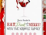 Christmas Cocktail Party Invitation Template Retro Santa Christmas Cocktail Party Invitation