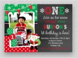 Christmas First Birthday Party Invitations Christmas Birthday Invitation Christmas 1st Birthday Santa