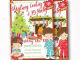 Christmas Slumber Party Invitations Kids Christmas Party Invite Cookies Pajama Sleep Over