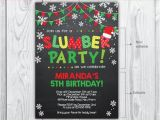 Christmas Slumber Party Invitations Slumber Party Invitation Christmas Birthday Invitation